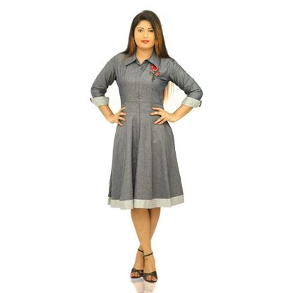 Picture of Chambray Short dress with Rose