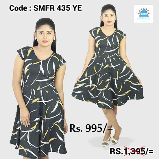 Normal Frock Designs 2017 Sri Lanka: Short Sleeves V Neck Dress-SunMart Lanka