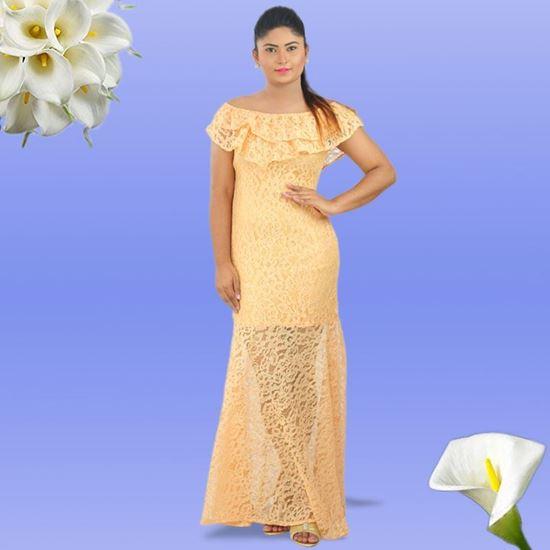 Orange Lace Double Frilled Tight Frock-SunMart Lanka