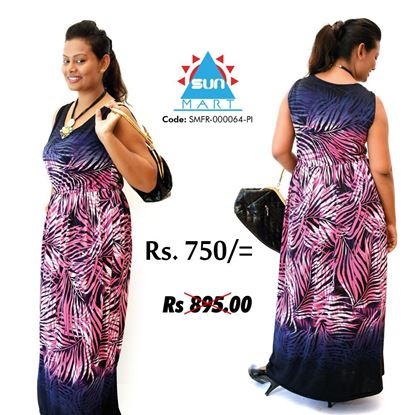 Picture of Leave design long sleeveless frock