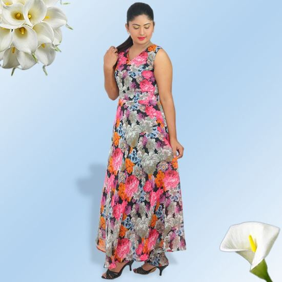Sleeveless Maxi Dress With Floral Design Sunmart Lanka