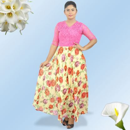 Picture of Maxi dress with pink lace