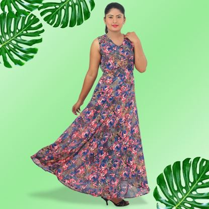 Picture of Goergette maxi dress with floral design