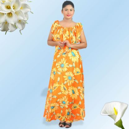 Picture of Georgette sunflower maxi dress with frill