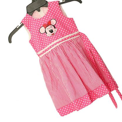 Kids Frock Sleeve less with Mini mouse  embroider
