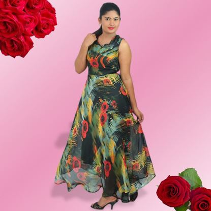 Picture of Roses designed georgette maxi dress