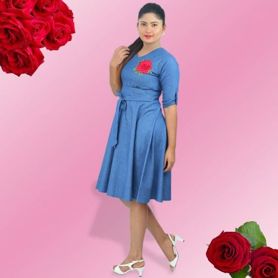 Picture of Cute short denim frock with emboss rose