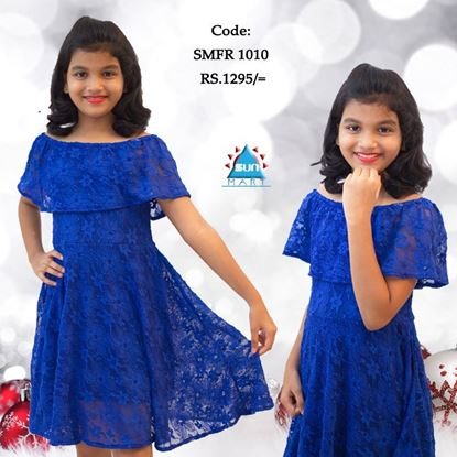 Picture of Off shoulder kids party dress with lace