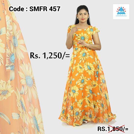 Normal Frock Designs 2017 Sri Lanka: Sunflower Georgette Maxi Dress-SunMart Lanka