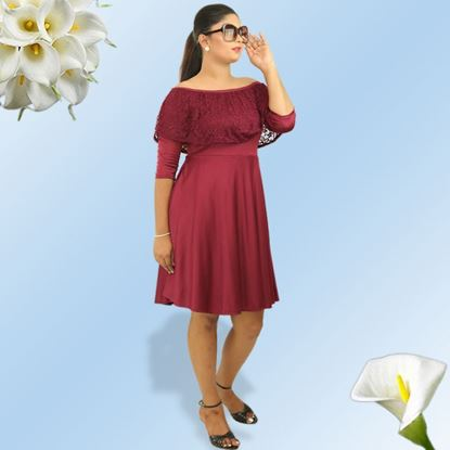 Picture of Meroon off shoulder long sleeve dress