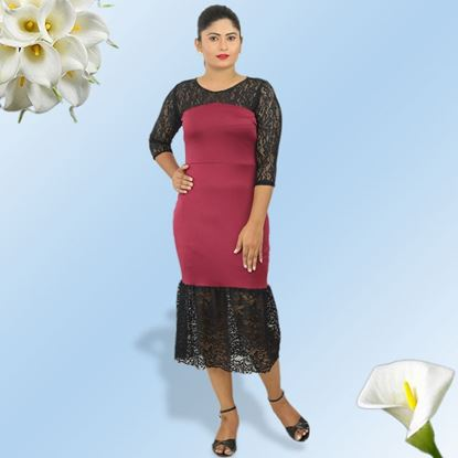 Picture of Black and Meroon mixed fishtail frock