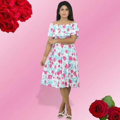 Picture of Double frilled pink roses frock