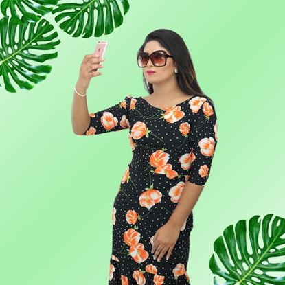 Picture of Fish Tailed orange flower dress