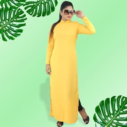 Picture of Curved high necked long kurtha top