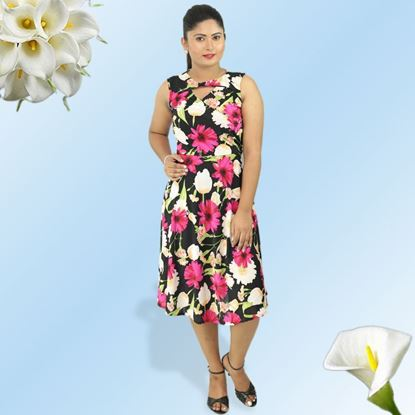 Picture of Pink floral cross over short dress