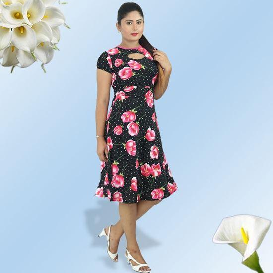 Normal Frock Designs 2017 Sri Lanka: Pink Tulip Neck Designed Short Dress-SunMart Lanka
