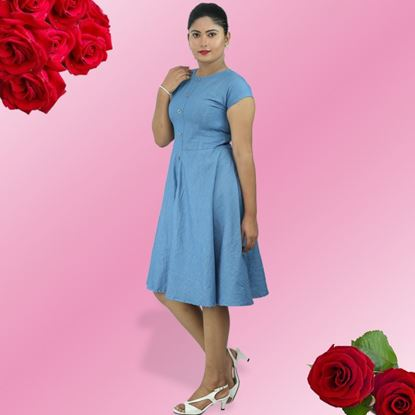 Picture of Boat necked chambray short dress