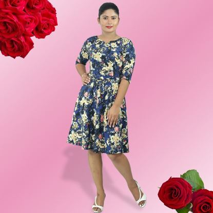 Picture of Small roses viscose short dress