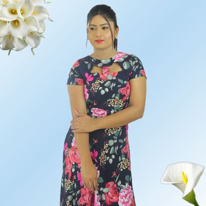 Picture of Neck designed floral maxi dress