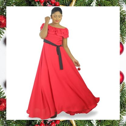Double frilled Georgette maxi dress