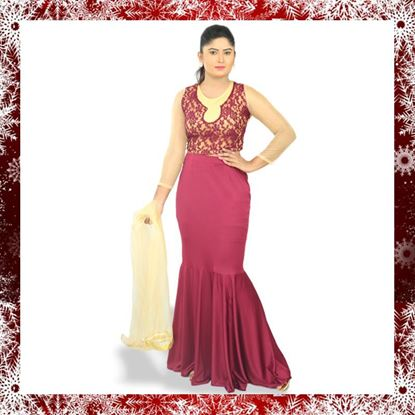 Picture of Meroon color party dress with fishtail