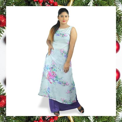 Picture of Sleeveless georgette long top with skirt