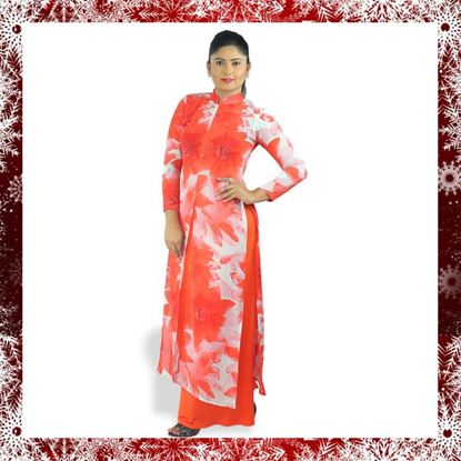 Picture of High necked georgette long top with skirt