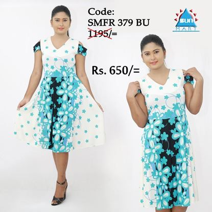 Picture of Cut Shoulder short dress -Temple Flower Design
