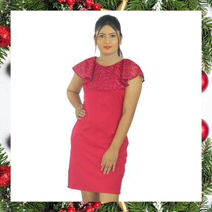 Picture of Meroon curve frilled tight dress