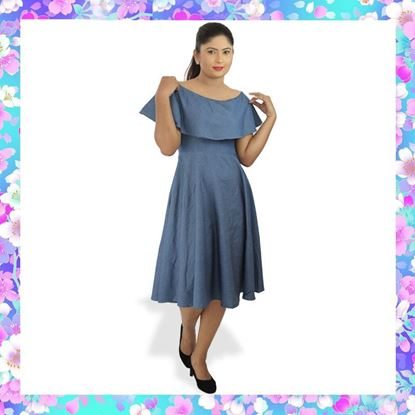 Picture of Chambray frilled off-shoulder dress
