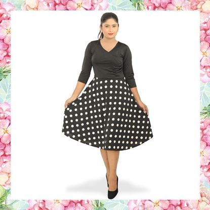 Picture of Cross over polka design short dress