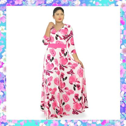 Picture of Pink rose cross over long sleeve maxi dress
