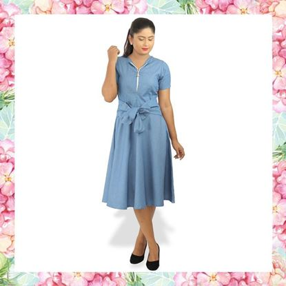 Picture of Chambray front knotted dress