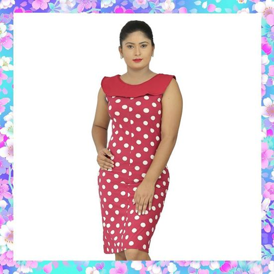 Picture of Polka dot designed collared sleeveless dress