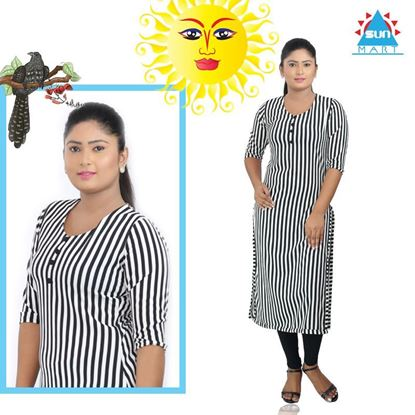 Picture of Black & White stripe designed long top
