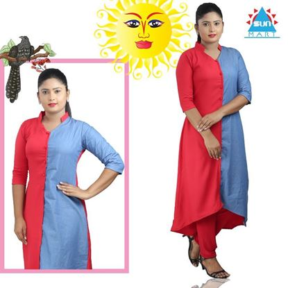 Picture of Asymmetric hemline kurtis two color top