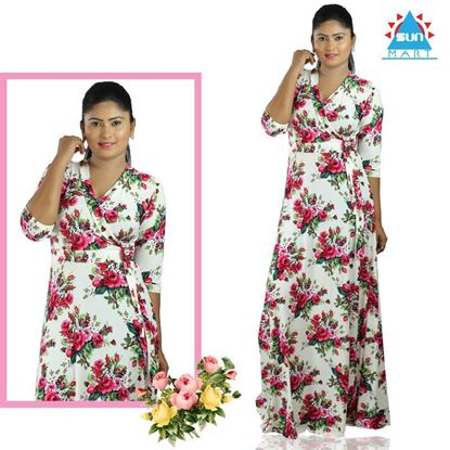 Picture of Cross over Long Sleeve Roses design Maxi Dress