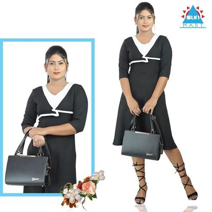 Picture of Black & White cross over office tight frock