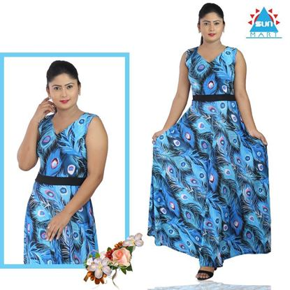 Picture of Sleeveless Peacock Design Maxi dress