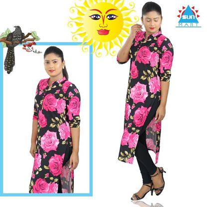 Picture of Collared Big Rose Printed Top