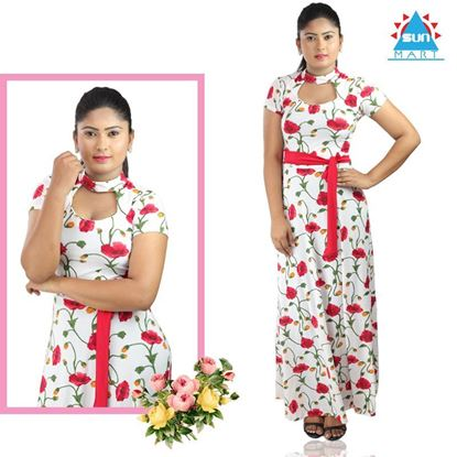 Picture of Red Belted Red Tulip Maxi Dress