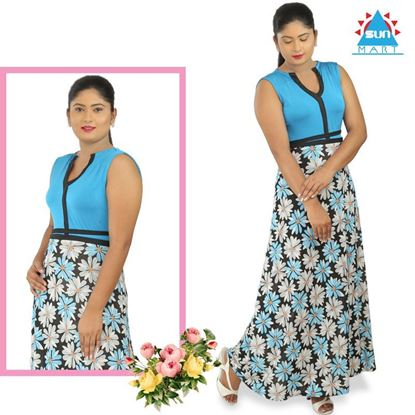 Picture of Light blue flower designed maxi sleeveless dress
