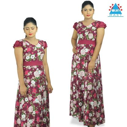 Picture of Maroon flower designed maxi dress