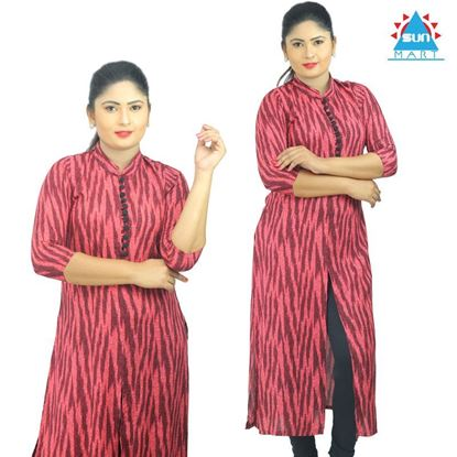 Picture of High neck striped designed kurtha top