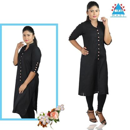 Picture of Sleeve button designed long kurtha top