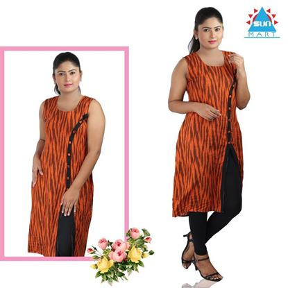 Picture of Sleeveless sight button stripped design kurtha top