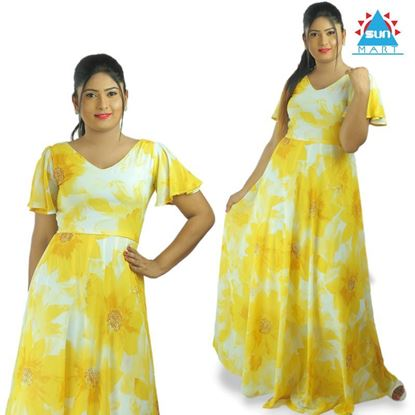 Picture of Yellow georgette maxi dress