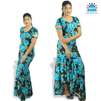 Picture of Fishtail blue flower maxi dress