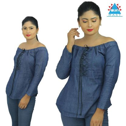 Picture of Chambray off the shoulder Tie-Up top