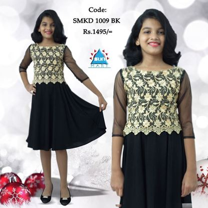 Black & Gold Kids Party Frock